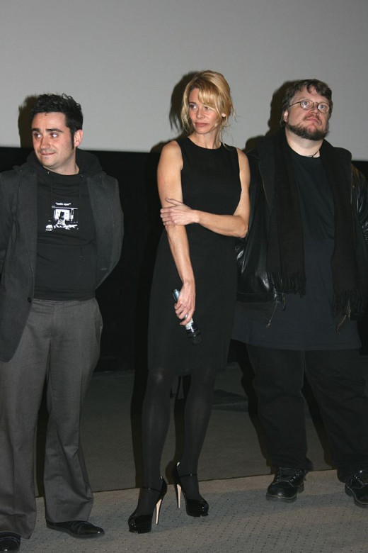 "Juan Antonio Bayona, Belén Rueda and Guillermo del Toro at the premiere of ""The Orphanage."" Photo by Thierry Caro."