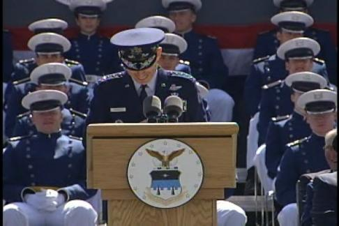 Speaker takes a moment at Air Force Academy graduation.