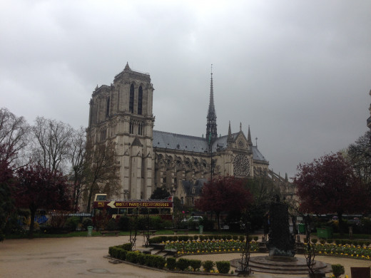 Notre Dame, quite a beautiful lady indeed, pierces the mid-morning fog on the first day of of my stay in Paris.
