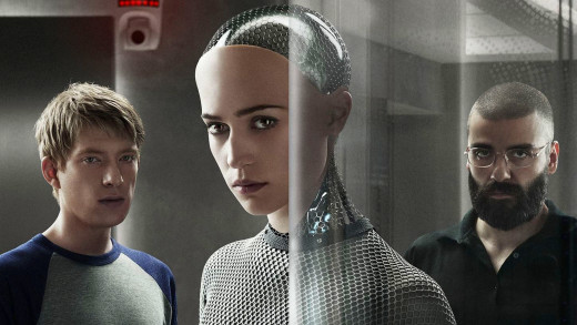 "Caleb Smith (Domhall Gleeson, left), Ava (Alicia Vikander, center), and Nathan Bateman (Oscar Isaac, right) in ""Ex_Machina""."