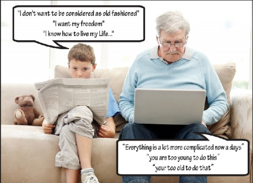 Generation gap between youngsters and aged people