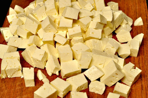 Cut the feta cheese into small cubes.
