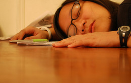 woman asleep at work dreaming