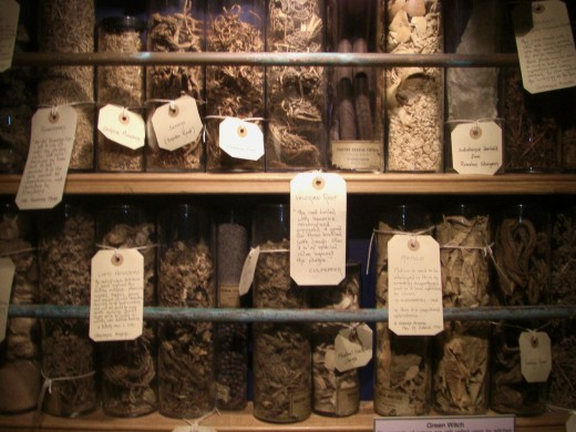 Dried herbs and plants were used by cunningfolk in England for various magical and medicinal purposes.