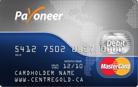 A Payoneer branded prepaid debit cart
