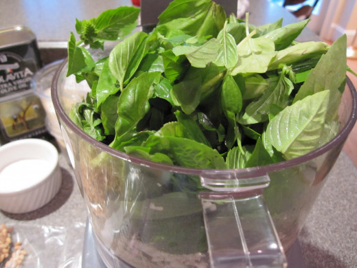 Wash and pat dry the fresh sprigs of basil