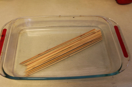 Soak the skewers for 30 minutes in water and set aside. This prevents burning later on.