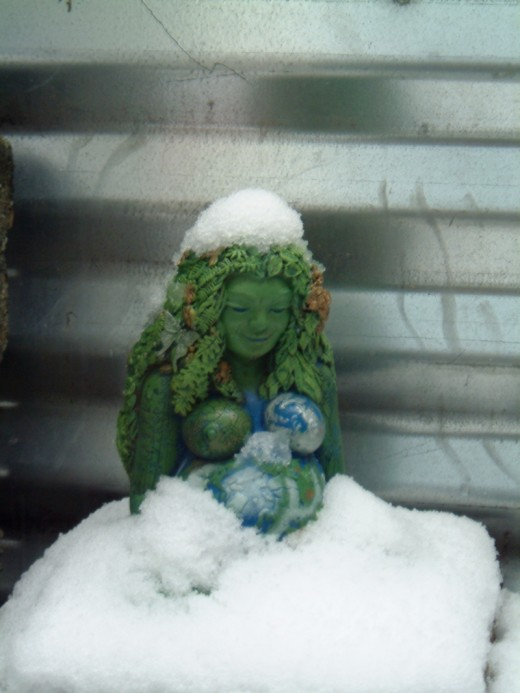 Gaia, wrapped in snow