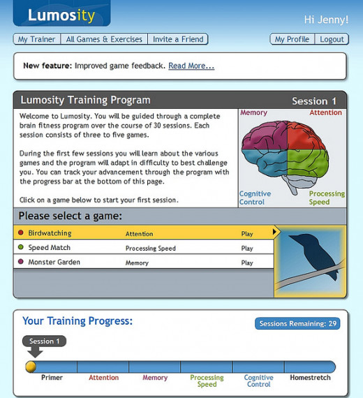 Lumosity brain games training program.