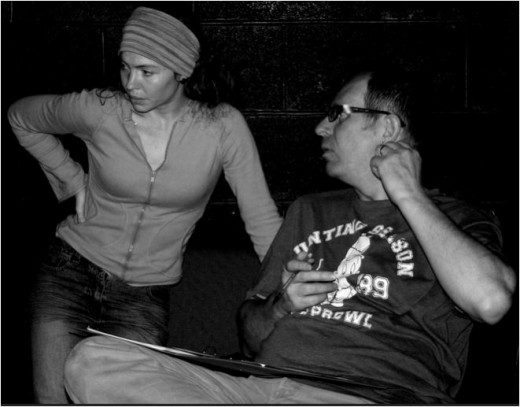 Suzanne Enoch and Colin Garrow during rehearsals of No Phones on Planet Pluto