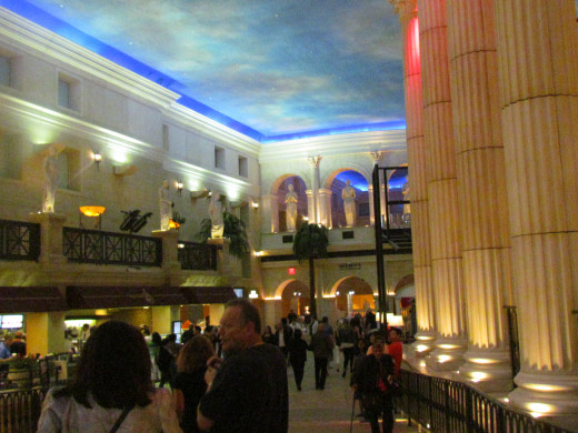 Magnificent columns line the entranceway as guest arrive at Caesars in AC.
