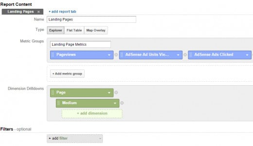 "Settings for the ""Top Converting Pages Report"""