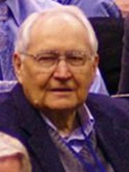 Elder L. Tom Perry enjoying a night out to watch the Utah Jazz play basketball