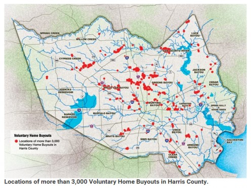 Home buy outs in the past concentrated in areas of recurring floods