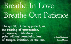 """When I am patient, I wait with a calm and loving spirit. Hoping and for the very best outcome for all who are affected by the circumstances. My patients is secure in the love of my creator and I feel gentle like a dove."""
