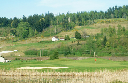 A view from the Sumner Meadows Course. There's a highway running up that hill now, but at least the barn remains. A condo development was constructed just to the left.