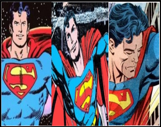 Superman, as illustrated by (from L-R): Curt Swan & Murphy Anderson; John Byrne; Jerry Ordway & Mike Machlan