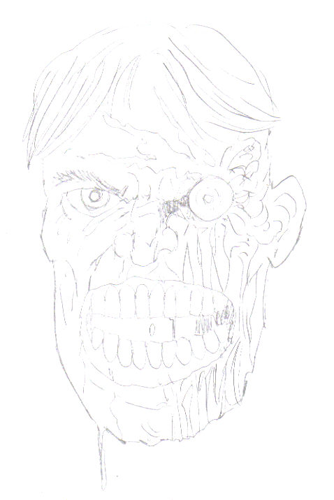 The third zombie face drawing sees an extension of the previous step with more details which will make the final drawing.