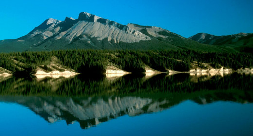 There are pictorial landscapes (Rockies, Canada)