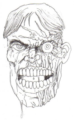 Adding black ink to the face of the zombie you can add more detail    Zombie Face Drawing