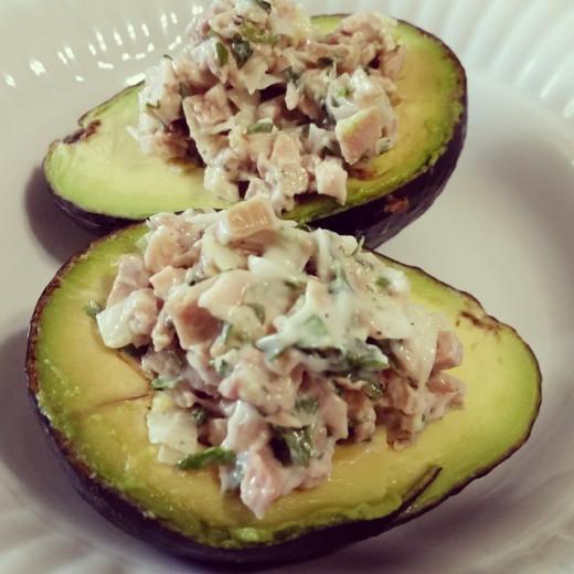 Chicken-salad-stuffed avocado.