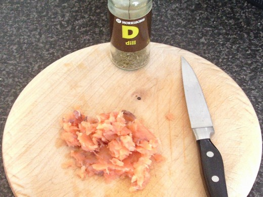 Finely dicing Scottish smoked salmon