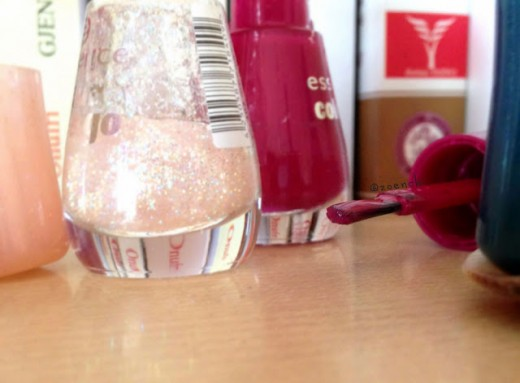Pearly pink and red bottles.