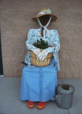 Old lady scarecrow.