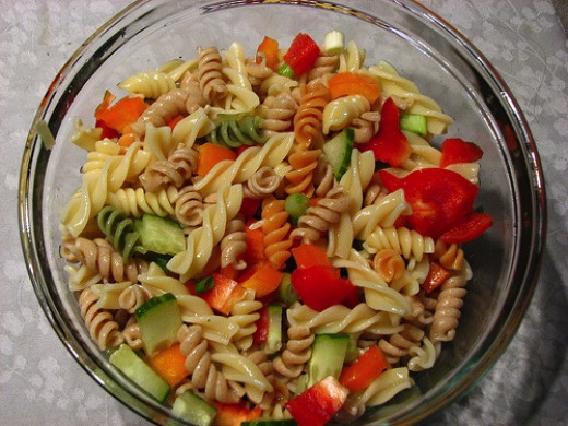Mix carrots, celery, peppers, tomatoes, and green onion together in large bowl. Add the cooled pasta and mix together.