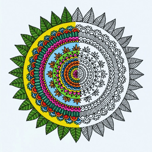 This is the cover of my adult coloring book which features 20 delightfully detailed hand-drawn Mehndi mandala designs for people to print and color. They can relax and enjoy the intricate & beautiful world of stress relieving circular mandala designs