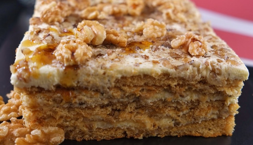 Walnuts, almonds and cream cheese pair well with the honey in cakes and slices