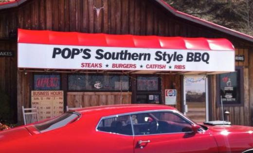 Pop's BBQ, located right outside Cave Run Lake.   Try their smoked beef brisket!  The food here is delicious, fresh, and extremely affordable.  You can get an entrée (with a hearty portion of meat) and two sides for under $10!