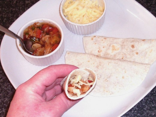 Fajitas spiced jellied cod and cheese tortilla wrap