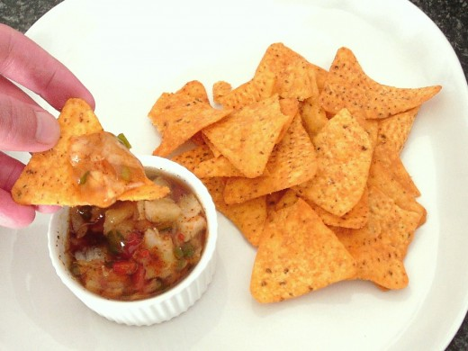 Tortilla chips are used to eat fajitas spiced jellied cod