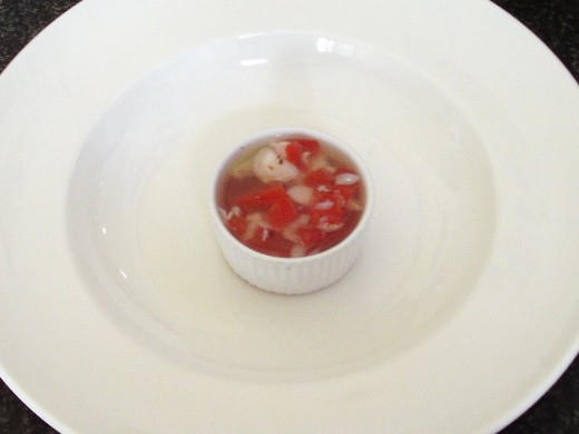 Tomato and basil jellied cod