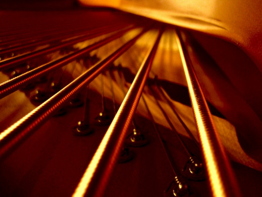 Close-up of the bass strings on a Bösendorfer grand piano