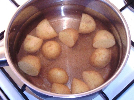 Baby potatoes are put on to boil
