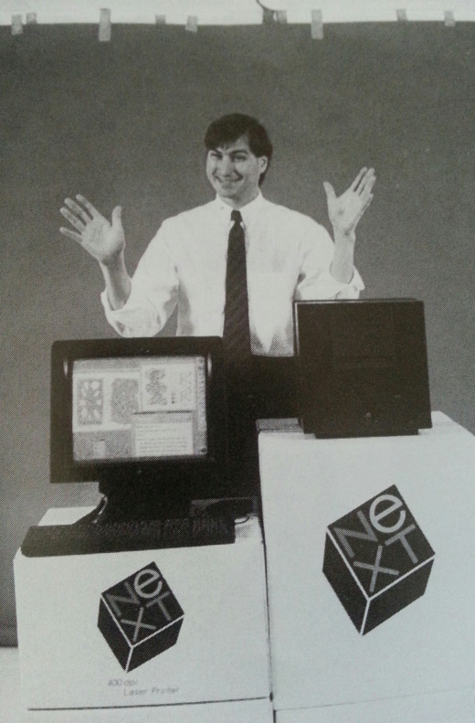 Jobs in 1988 unveiling the NeXT computer and printer. Between 1985 and 1997, after his ouster from Apple, he had only mediocre success in the computer industry.