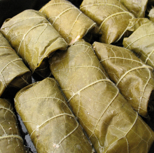 Stuffed vine leaves are cooked tightly packed together in a heavy pan to stop them unravelling.
