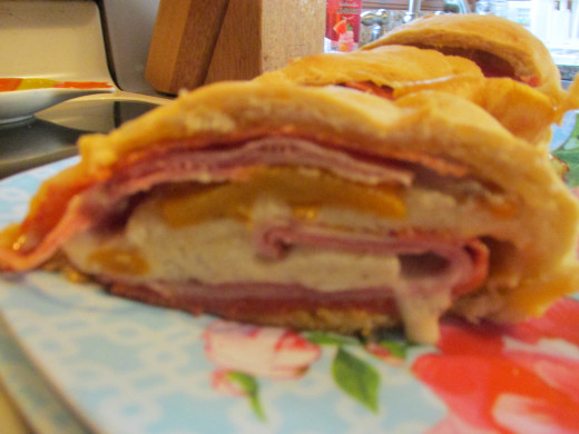 View of inside of cooked Stromboli