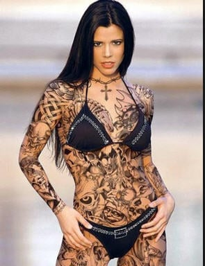 This person has great body art that she will regret when she is 50.