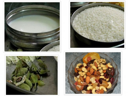 Few Ingredients for the Rice Kheer (clockwise from top left) - Milk, rice, nuts and green cardamom