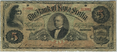 An 1881 Bank of Nova Scotia $5 banknote.  Chartered banks printed and circulated their own bank notes until the Bank of Canada took over that function in 1935.