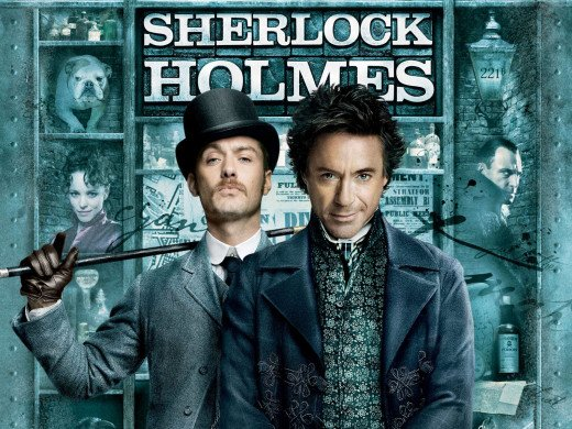 Jude Law and Robert Downey Jnr in Sherlock Holmes