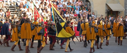 Parading at the Palio della Balestra in Sansepolcro