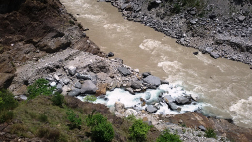 The confluence of Kalpa Ganga with Alaknanda