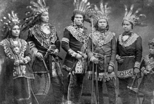 Five Ojibwe Kings in the 1800s. Notice that the King on the far left is female.