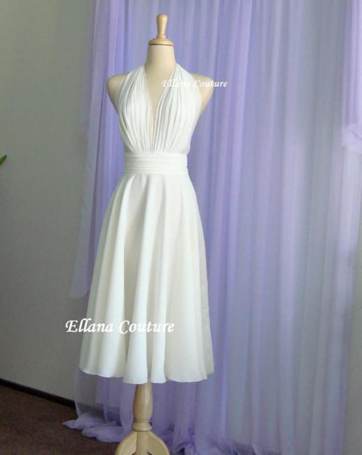 A beautiful tea length dress.