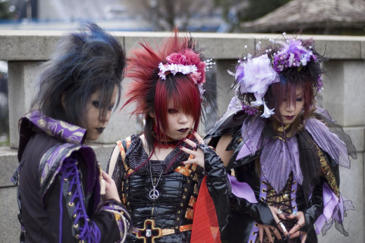 Visual kei fans cosplaying their favorite band