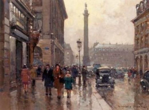 Rue de la Paix and place Vendôme in a rainy evening by Edouard Léon Cortes
